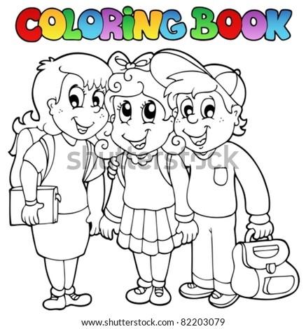 Coloring book school cartoons 6 - vector illustration. - stock vector