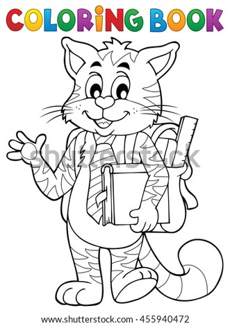 Coloring book school cat theme 1 - eps10 vector illustration.