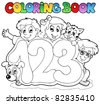 Coloring book school numbers - vector illustration. - stock vector