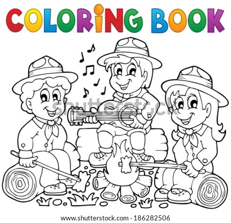 Coloring book scouts theme 1 - eps10 vector illustration. - stock vector