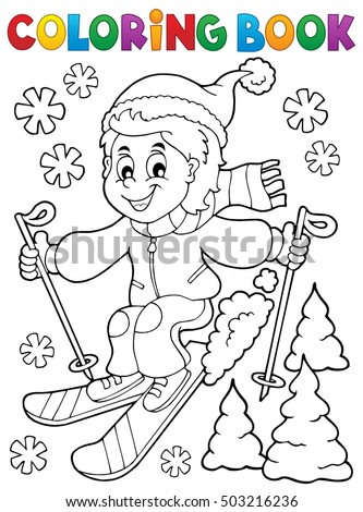 Coloring book skiing boy theme 1 - eps10 vector illustration.