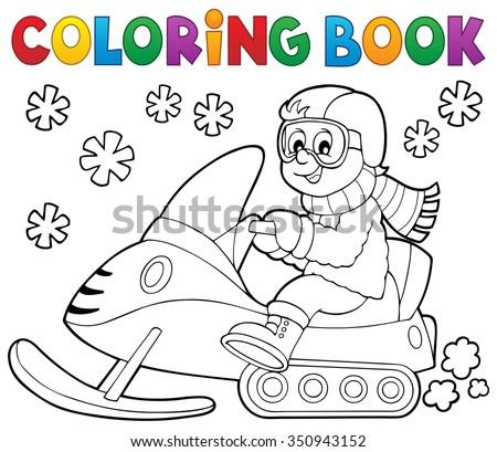 Coloring book snowmobile theme 1 - eps10 vector illustration. - stock vector