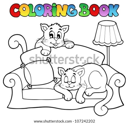 Coloring book sofa with two cats - vector illustration. - stock vector