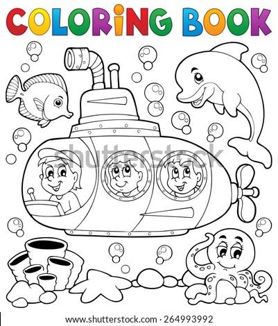 Coloring book submarine theme 1 - eps10 vector illustration. - stock vector