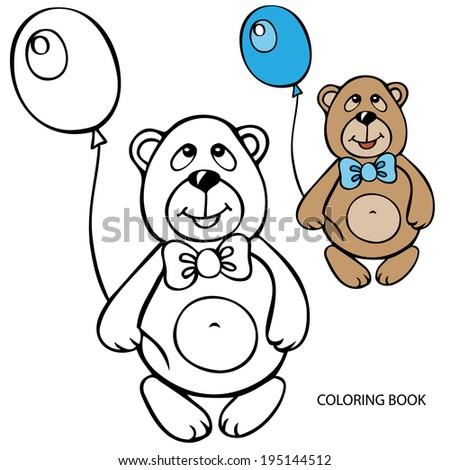 Coloring Book Teddy Bear Balloon Vector Stock Vector 195144512 ...