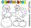 Coloring book Thanksgiving theme - vector illustration. - stock vector