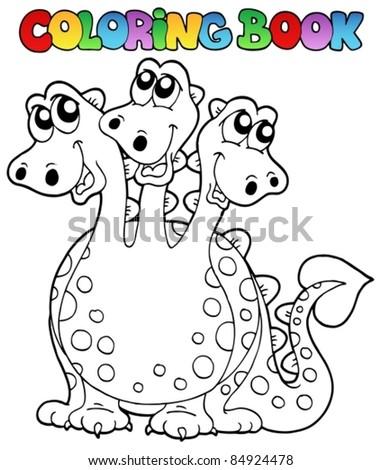 Coloring book three headed dragon - vector illustration. - stock vector