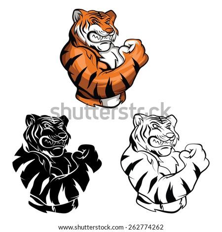 Coloring book Tiger Mascot cartoon character - stock vector