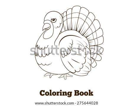 Coloring Book Turkey Cartoon Educational Illustration Stock Vector ...