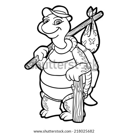 Coloring Book Turtle Stock Vector 218025682 - Shutterstock