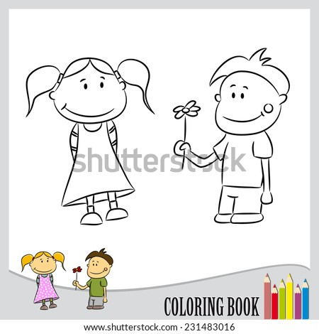 Coloring book - two children are falling in love - boy carrying flower  for girl (vector)