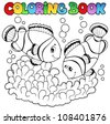 Coloring book two cute clown fishes - vector illustration. - stock photo