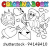 Coloring book Valentine theme 4 - vector illustration. - stock vector