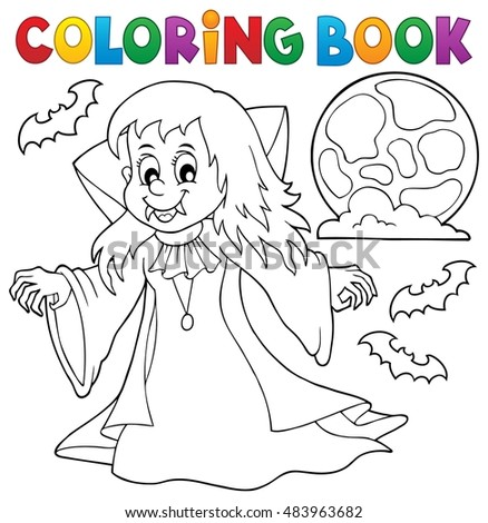 Coloring book vampire girl theme 1 - eps10 vector illustration.