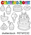 Coloring book various cakes 1 - vector illustration. - stock vector