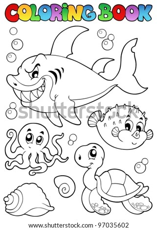 Coloring book various sea animals 1 - vector illustration. - stock vector