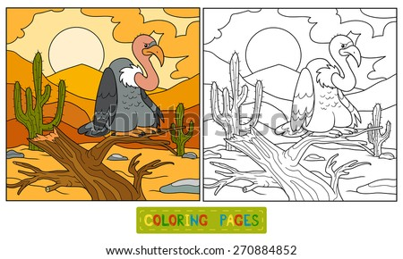 Coloring book (vulture) - stock vector
