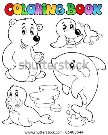 Coloring book wintertime animals 1 - vector illustration. - stock vector