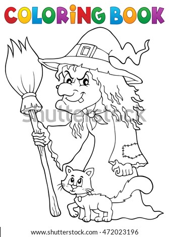 Coloring book witch with cat and broom - eps10 vector illustration.