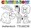 Coloring book with African animals - vector illustration. - stock vector