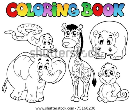 Coloring Book African Animals Vector Illustration Stock Vector ...