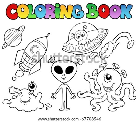 Coloring book with aliens - vector illustration. - stock vector