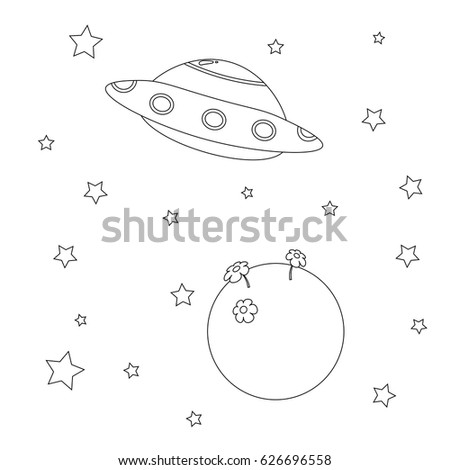 Coloring Book Alliens Spaceship Planet Stars Stock Vector HD ...