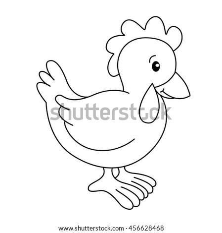 Coloring Book With Animals Farm Hen Vector