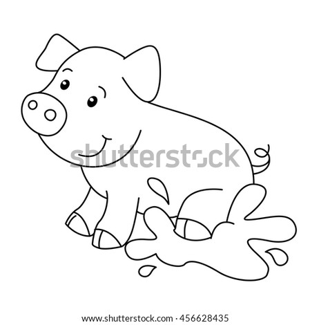 Coloring Book Animals Farm Pig Vector Stock Vector 456628435