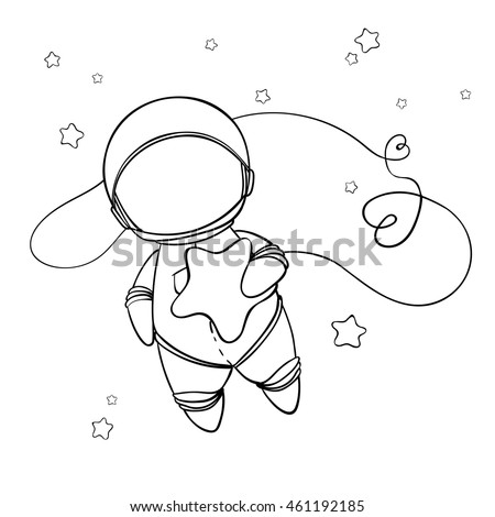 Coloring Book Astronaut Vector Illustration Cute Stock Vector ...