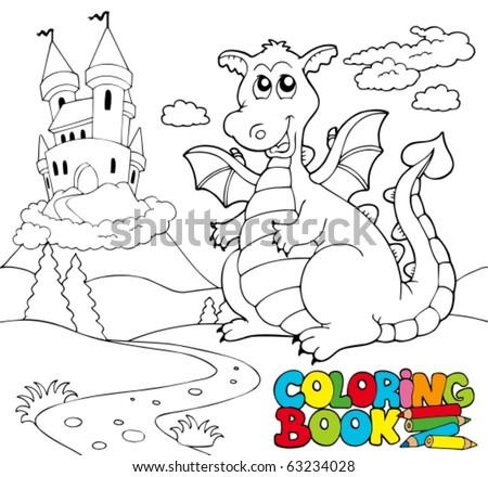 Coloring book with big dragon 2 - vector illustration. - stock vector