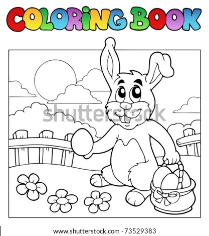 Coloring book with bunny and eggs - vector illustration. - stock vector