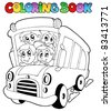 Coloring book with bus and children - vector illustration. - stock vector