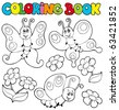 Coloring book with butterflies 1 - vector illustration. - stock vector