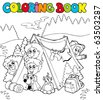 Coloring book with camping kids - vector illustration. - stock vector