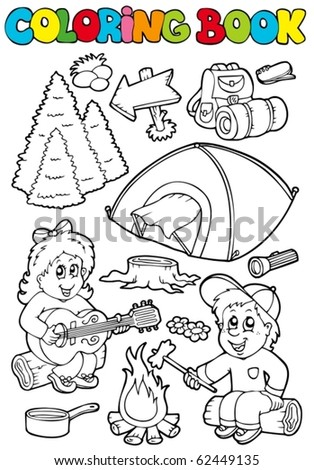 Coloring book with camping theme - vector illustration. - stock vector