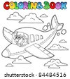 Coloring book with cartoon aviator - vector illustration. - stock vector