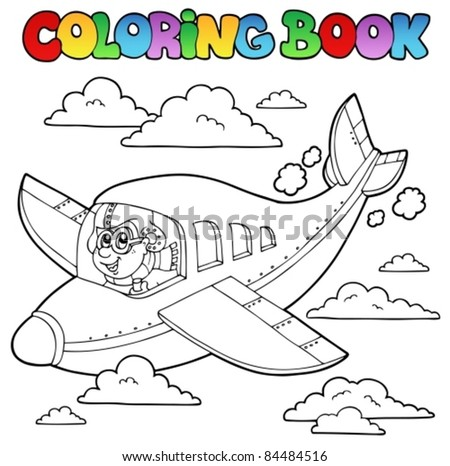 Coloring Book With Cartoon Aviator