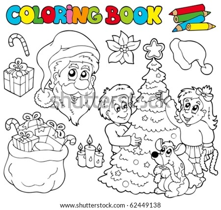 Coloring book with Christmas theme - vector illustration. - stock vector