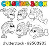 Coloring book with crazy fishes - vector illustration. - stock vector