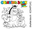 Coloring book with cute animals 1 - vector illustration. - stock vector