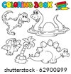 Coloring book with dinosaurs 1 - vector illustration. - stock photo