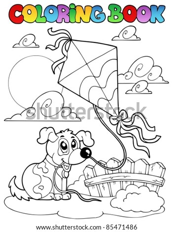 Coloring book with dog and kite - vector illustration. - stock vector