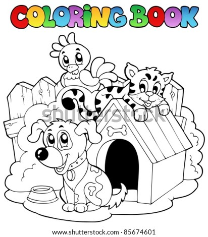 Coloring book with domestic animals - vector illustration. - stock vector
