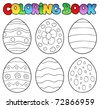 Coloring book with Easter eggs - vector illustration. - stock photo