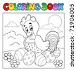 Coloring book with Easter theme 4 - vector illustration. - stock vector