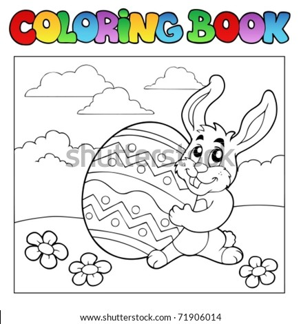 Coloring book with Easter theme 1 - vector illustration. - stock vector