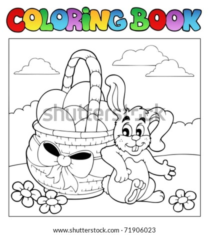Coloring book with Easter theme 2 - vector illustration. - stock vector