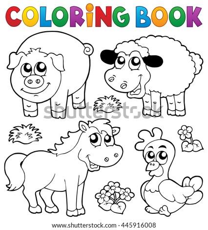 Coloring Book Farm Animals 5 Eps10 Stock Vector 445916008 ...