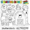 Coloring book with farm animals 1 - vector illustration. - stock vector